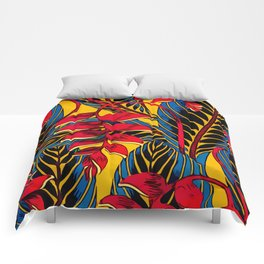 Jungle Glam Falling Leaves Blue Gold Comforters