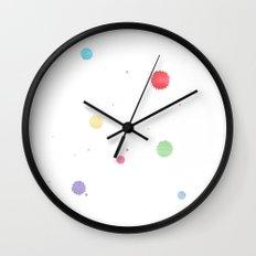 colored splatters watercolor Wall Clock