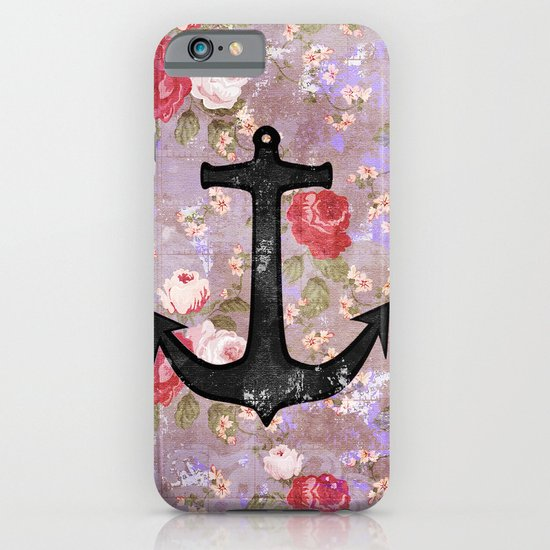 Vintage Nautical Anchor Purple Pink Floral Pattern  iPhone & iPod Case