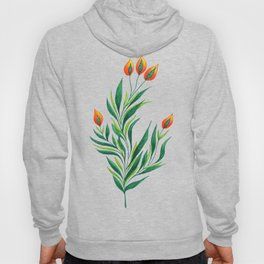 Abstract Green Plant With Orange Buds Hoody