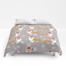 Corgi Christmas - peppermint stick, candy cane, christmas blanket, corgi blanket, corgi decor Comforters