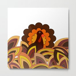 Retro Thanksgiving Turkey Metal Print