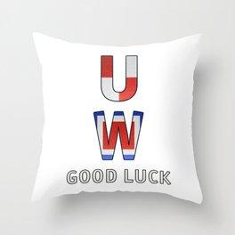 """U"" ""W"" Good Luck - Navy Alphabet - Leather Throw Pillow"