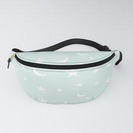 White moon and star pattern on baby blue background Fanny Pack