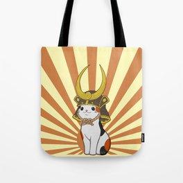 Japanese Bobtail Cat Wears Samurai Hat Tote Bag