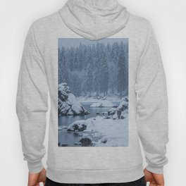 Heavy snow fall lake Fusine, Italy Hoody