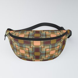 Brown abstract Checkered pattern . Fanny Pack