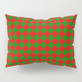 VERY SMALL green and red CHRISTMAS HARLEQUIN DIAMOND PATTERN Pillow Sham