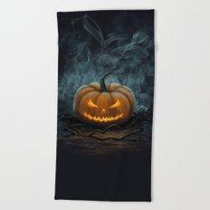 Halloween Pumpkin Beach Towel