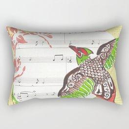 Pheasant Play (pheasant and cherry blossoms on sheet music) Rectangular Pillow