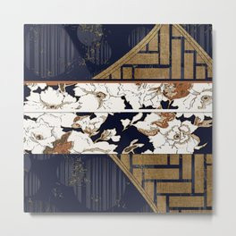 Navy and Gold Herringbone Peony Obi Print Metal Print