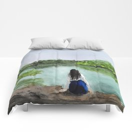 girl and nature Comforters