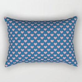 Red Hearts on Navy Blue Rectangular Pillow