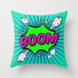 Boom Blue Boom Throw Pillow
