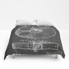 Film Reel Patent - Classic Cinema Art - Black Chalkboard Comforters