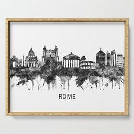 Rome Italy Skyline BW Serving Tray
