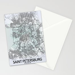 Saint Petersburg, Russia, White, City, Map Stationery Cards