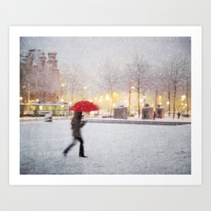Antwerp in the Snow Art Print