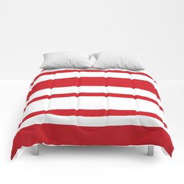 Mixed Horizontal Stripes - White and Fire Engine Red Comforters