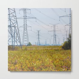 Landscape with power lines Metal Print