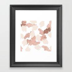 Modern rose gold faux glitter brushstrokes blush pink Framed Art Print