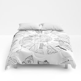 black and white city spiral digital painting Comforters
