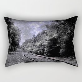 Train Tracks Next Stop Anywhere Periwinkle Gray Rectangular Pillow