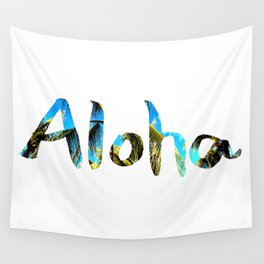 Palm Tree and Blue Sky Aloha Wall Tapestry