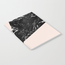 Black white marble blush pink color block Notebook