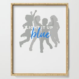 Light it up blue design Autism Down Syndrome Awareness Serving Tray