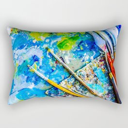Palette And Brushes Rectangular Pillow