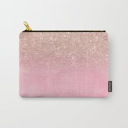 Modern rose gold glitter ombre hand painted pink watercolor Carry-All Pouch