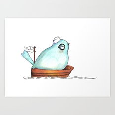 Blue bird out at sea watercolor ink illustration Art Print