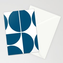 Mid Century Modern Blue Square Stationery Cards