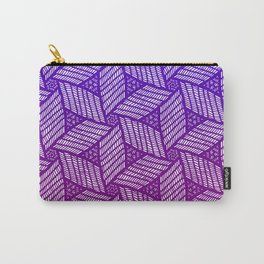 Japanese style wood carving pattern in purple Carry-All Pouch