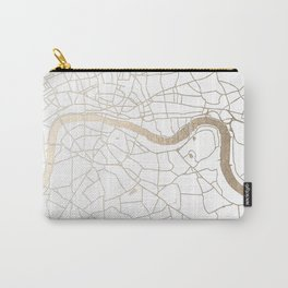 White on Gold London Street Map Carry-All Pouch