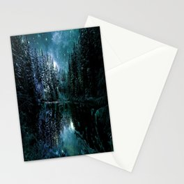 Winter Wonderland Forest Green Teal : A Cold Winter's Night Stationery Cards