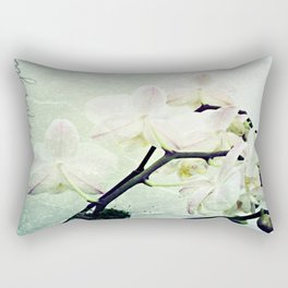 Textured White Orchid Flower Photography #2 Rectangular Pillow