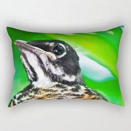 Young Robin Out on a Limb Rectangular Pillow