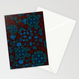 Wild Nightflowers Blue Red Poppys Pattern Stationery Cards