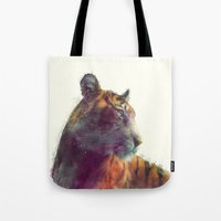 christian Tote Bags featuring Tiger // Solace by Amy Hamilton