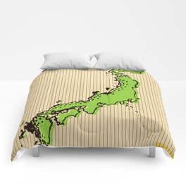 Vintage style Map of Japan Comforters
