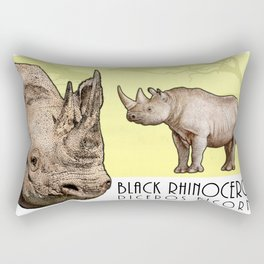 Black Rhinoceros Rectangular Pillow