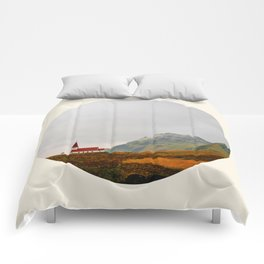 Lonely Icelandic Church Mountains Landscape Round Photo Comforters