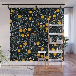 Oranges Black Wall Mural