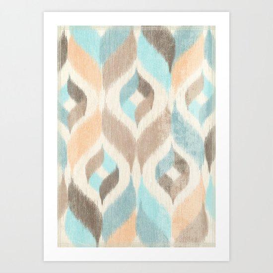 Soothing Waves Ikat Art Print
