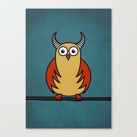 Funny Cartoon Horned Owl Canvas Print