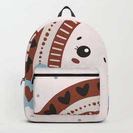cartoon rainbow with eyes in colored doodle style. weather illustration Backpack