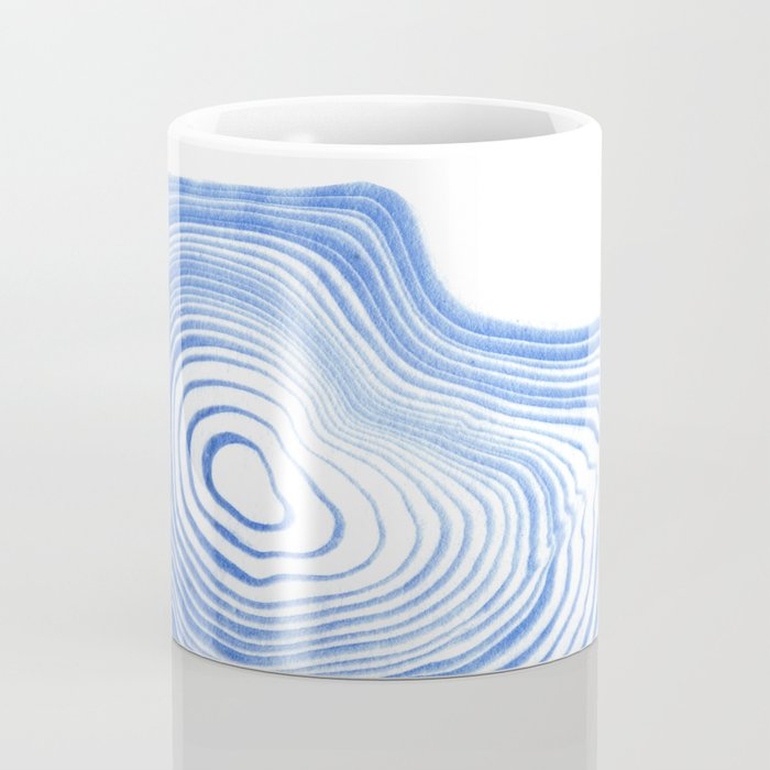 Ryu - spilled ink indigo watercolor painting abstract art marble swirl ocean wave marbled pattern  Coffee Mug
