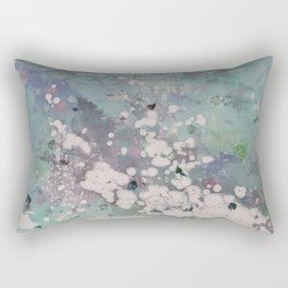 Clouded Mind (Abstract Acrylic White Blotchy Painting) Rectangular Pillow